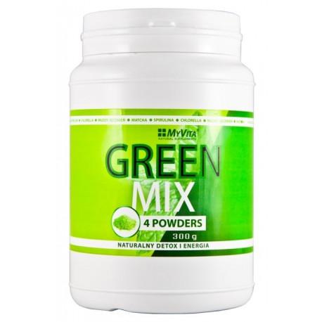 GREEN MIX 4w1 Spirulina Chlorella Młody Jęczmień Matcha 300g MyVita