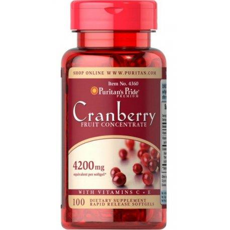 Żurawina Cranberry Koncentrat 4200mg +  Witamina C i E (100kaps) PURITANS PRIDE