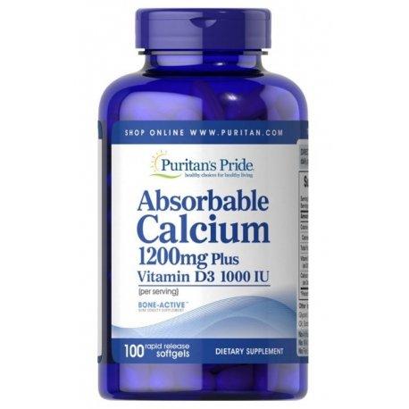 Przyswajalny Wapń + Witamina D3 1200mg Calcium (100kaps) PURITANS PRIDE