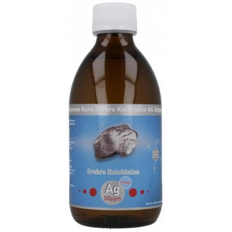 Niejonowe Nano Srebro Koloidalne Ag 50ppm STRONG Mocne 300ml Vitacolloids