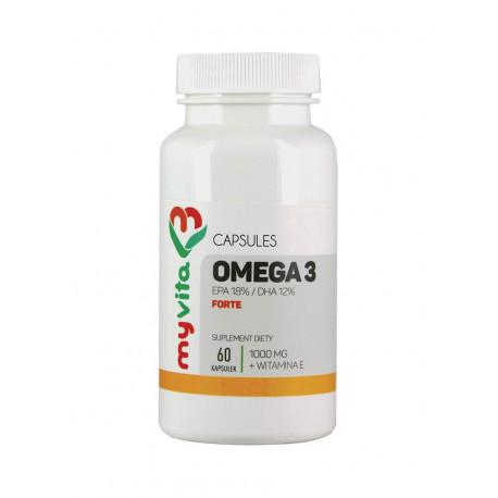 Omega 3 Forte 1000mg EPA 18% / DHA 12% + Witamina E (60kaps) Myvita