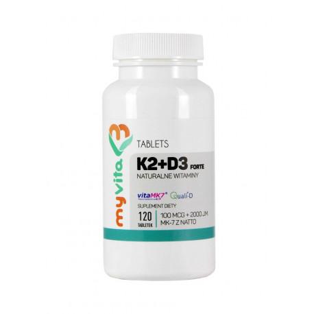Witamina K2 MK-7 z Natto + D3 (120 tab) Forte Myvita
