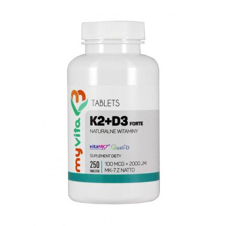 Witamina K2 + D3 Forte MK-7 z Natto (250tab) MyVita