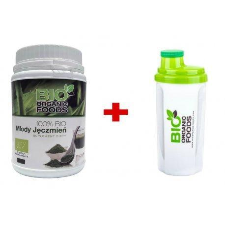 Młody Jęczmień Zielony BIO 300g + Shaker Bio Organic Foods