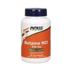 Betaine HCL 648 mg Betaina (120kaps) Now Foods