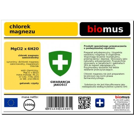 Chlorek Magnezu SzeÅciowodny Czysty 100% 1kg Biomus
