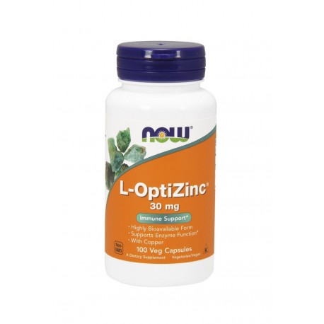 L-OptiZinc® 30mg (100kaps) Cynk Chelatowany Miedź Now Foods