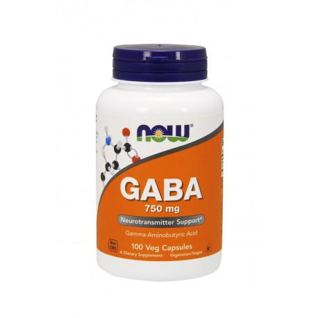 GABA Kwas Gamma-Aminomasłowy 750mg (100kaps) Now Foods