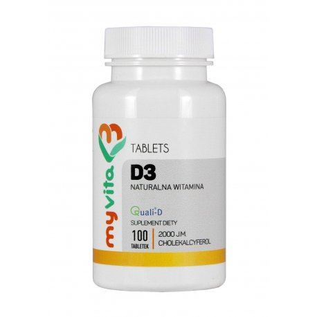 Witamina D3 z Lanoliny 2000j.m. 100 tabletek MyVita