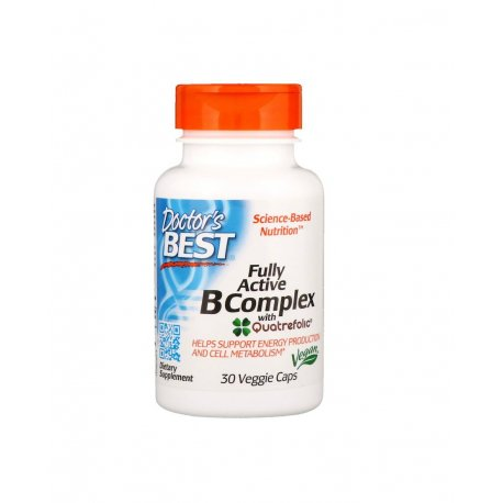 Fully Active B Complex (30 kaps) Kompleks Witamin B + Kwas foliowy Doctor's Best