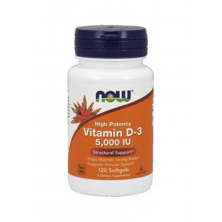 Witamina D3 5000 IU (120 sgels) Now Foods