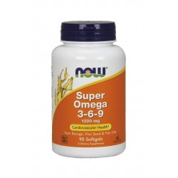 Super Omega 3-6-9 1200 mg Kwasy Tłuszczowe (90 sgels) Now Foods