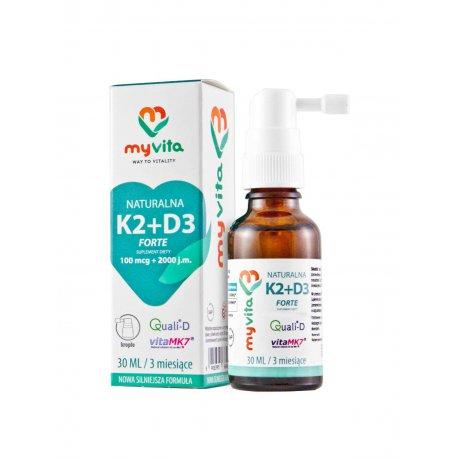 Witamina K2 MK-7 + D3 FORTE (100mcg + 2000 j.m.) w płynie krople 30ml Myvita