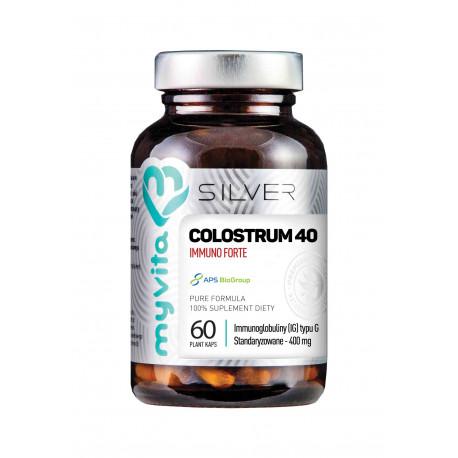Colostrum 40 Immuno Forte 400 mg 40% Immunoglobulin Wołowe (60 kaps) Silver Myvita
