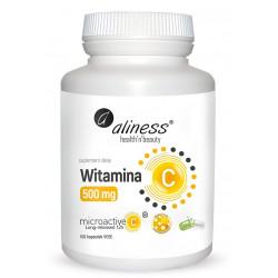 Witamina C 500 mg MicroActive - Mikrokapsułkowana - Przedłużone Uwalnianie 12 h (100 kaps) Aliness