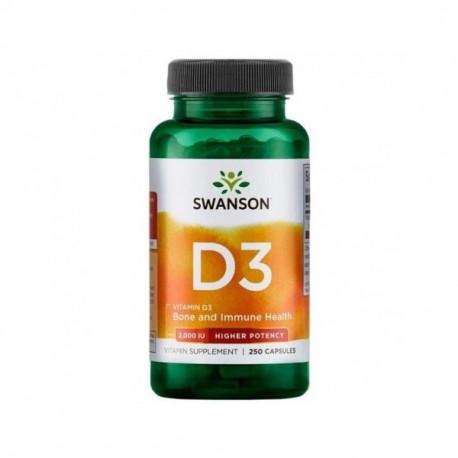 Witamina D3 2000IU High Potency Cholekalcyferol (250 kaps) Swanson