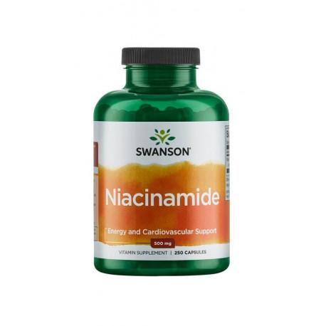 Niacyna Amid Kwasu Nikotynowego 500 mg (250 kaps) Witamina B3 Swanson