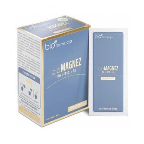 Organiczny Bio Magnez 300 mg + Cynk 10 mg + Witaminy B6 B12 (20 saszetek) Biofarmacja