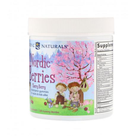 Nordic Berries Cherry Wiśniowe Multiwitaminy dla Dzieci i Dorosłych (120 żelków) Nordic Naturals