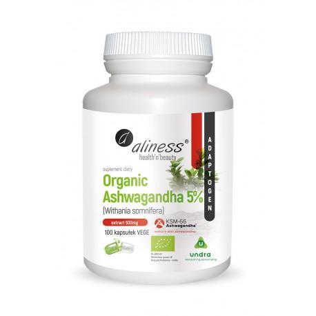 Organic Ashwagandha 5% KSM-66 Ekologiczna 500 mg Withania somnifera (100 kaps) Undra Aliness