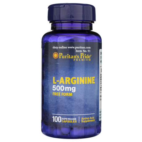 L-Arginina 500 mg Free Form (100 kaps) Regeneracja Puritan's Pride