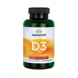 Witamina D3 1000IU High Potency Cholekalcyferol (250 kaps) Swanson