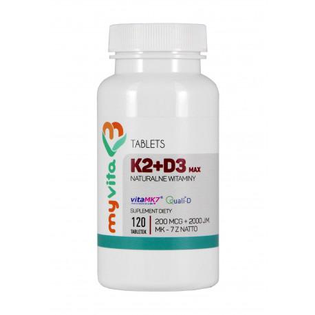 Witamina K2 MK-7 200 mcg + D3 (120 tab) MAX Myvita
