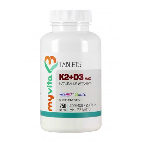Witamina K2 MK-7 200 mcg + D3 (250 tab) MAX Myvita