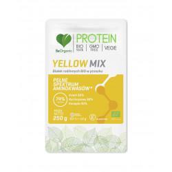 Białko Roślinne BIO Yellow Mix 74% Protein (Groch, Ryż Brązowy, Konopia) Aminokwasy 250 g VEGE BeOrganic