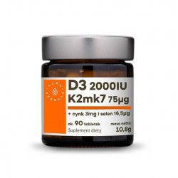 Witamina K2 MK-7 75 mcg + Witamina D3 2000 IU + Cynk 3 mg + Selen 16,5 mcg (90 tab) Aura Herbals
