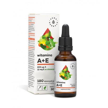 Witaminy A + E Krople Clean Label Vege 30 ml w Płynie Aura Herbals