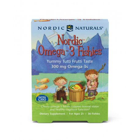 Nordic Omega-3 Fishes Kwasy Omega-3 300 mg dla Dzieci Wieloowocowe (36 żelków) Nordic Naturals