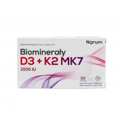 Biominerały Wapń + Witamina D3 2000 IU + K2 100 mcg (30 kaps) Narum
