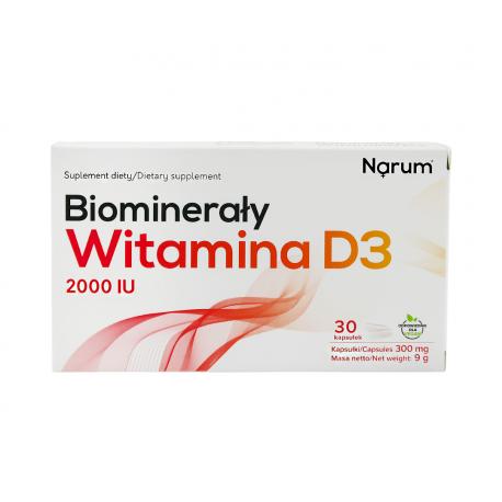 Biominerały Wapń + Witamina D3 2000 IU (30 kaps) Narum