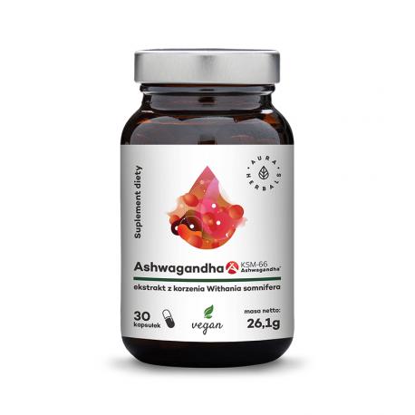 Ashwagandha KSM-66 500 mg Korzeń (30 kaps) VEGE Aura Herbals