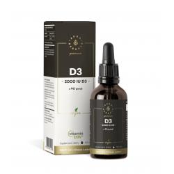 Witamina D3 2000 IU PREMIUM D3V Vegan z Alg Morskich w płynie 50 ml Krople Aura Herbals