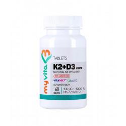 Witamina K2 + D3 Forte 100 mcg + 4000 IU (60 tab) Myvita
