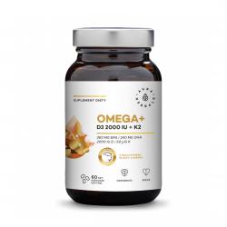 Omega+ Witamina D3 2000 IU + K2 50 mcg Kwasy DHA 240 mg + EPA 360 mg (60 sgels) Aura Herbals