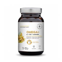 Omega+ Witamina A + D3 2000 IU + Czosnek Kwasy DHA 54 mg + EPA 81 mg (60 kaps) Aura Herbals